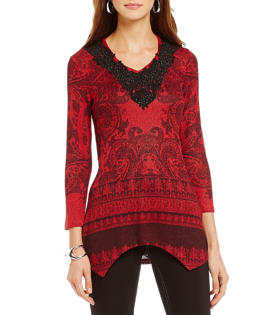 Reba Autumn Rose Asymmetrical Printed Embroidered V-Neck Top