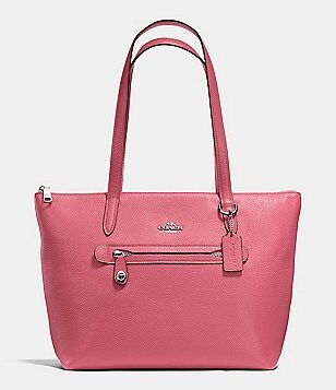 coach pink and gray purse fyuo  COACH TAYLOR TOTE IN PEBBLE LEATHER