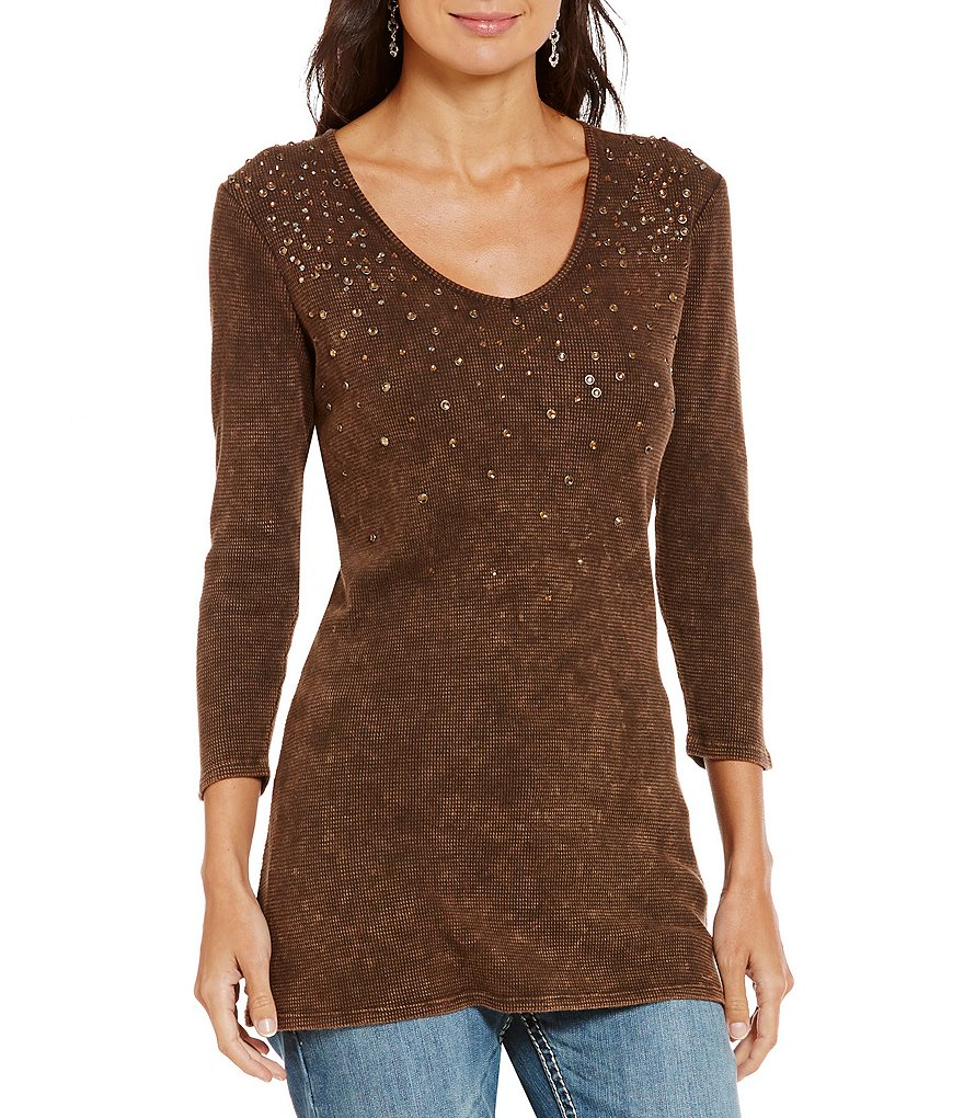 Reba Autumn Rose Waffle Knit Jeweled V-Neck Tunic