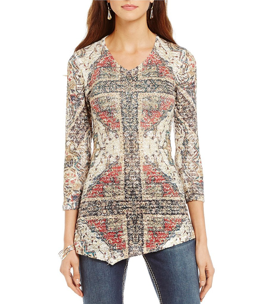 Reba Autumn Rose Printed Asymmetrical V-Neck Top