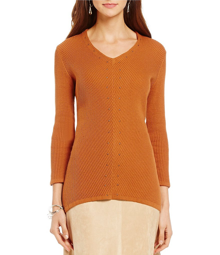 Reba Autumn Rose Studded Ribbed V-Neck Sweater