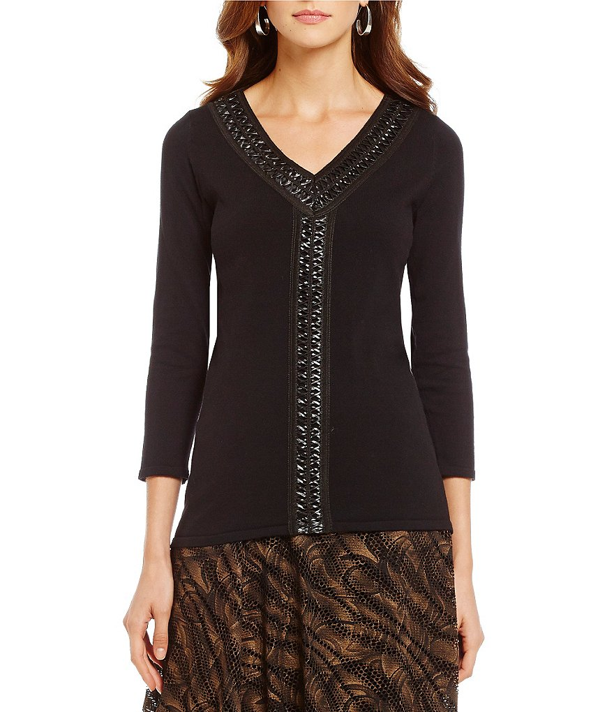 Reba Autumn Rose Faux Leather Trimmed Sweater