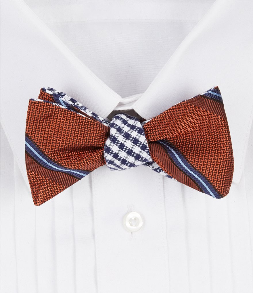 Brooks Brothers Split Sidewheeler Stripe and Gingham Reversible Silk Bow Tie