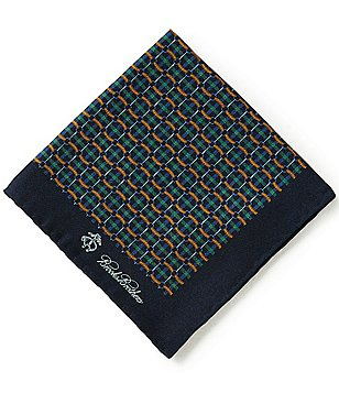 Brooks Brothers Plaid Link/Duck Printed Silk Pocket Square