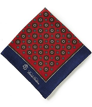 Brooks Brothers Flower/Medallion Print Double-Sided Pocket Square