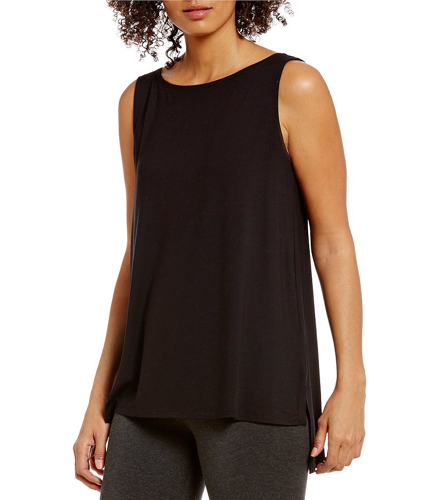 Eileen Fisher Missy Viscose Jersey Hi-low Hem Shell