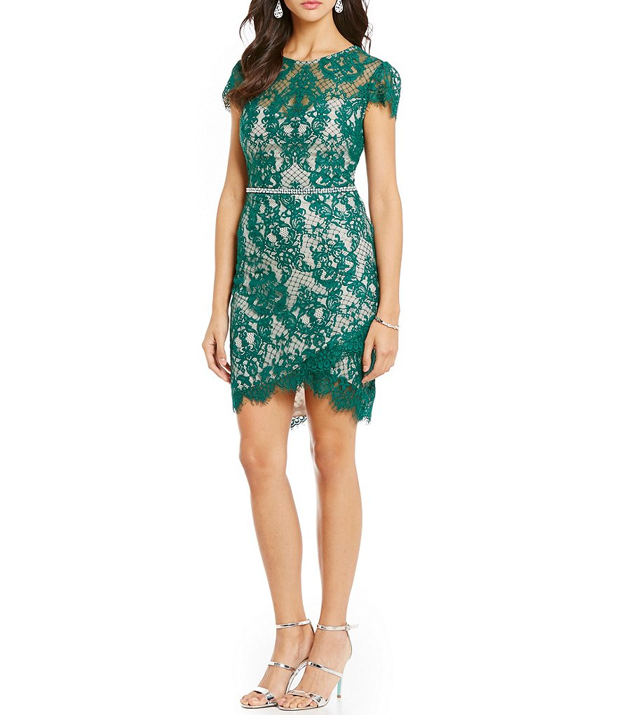 Jodi Kristopher Envelope Hem Lace Sheath Dress