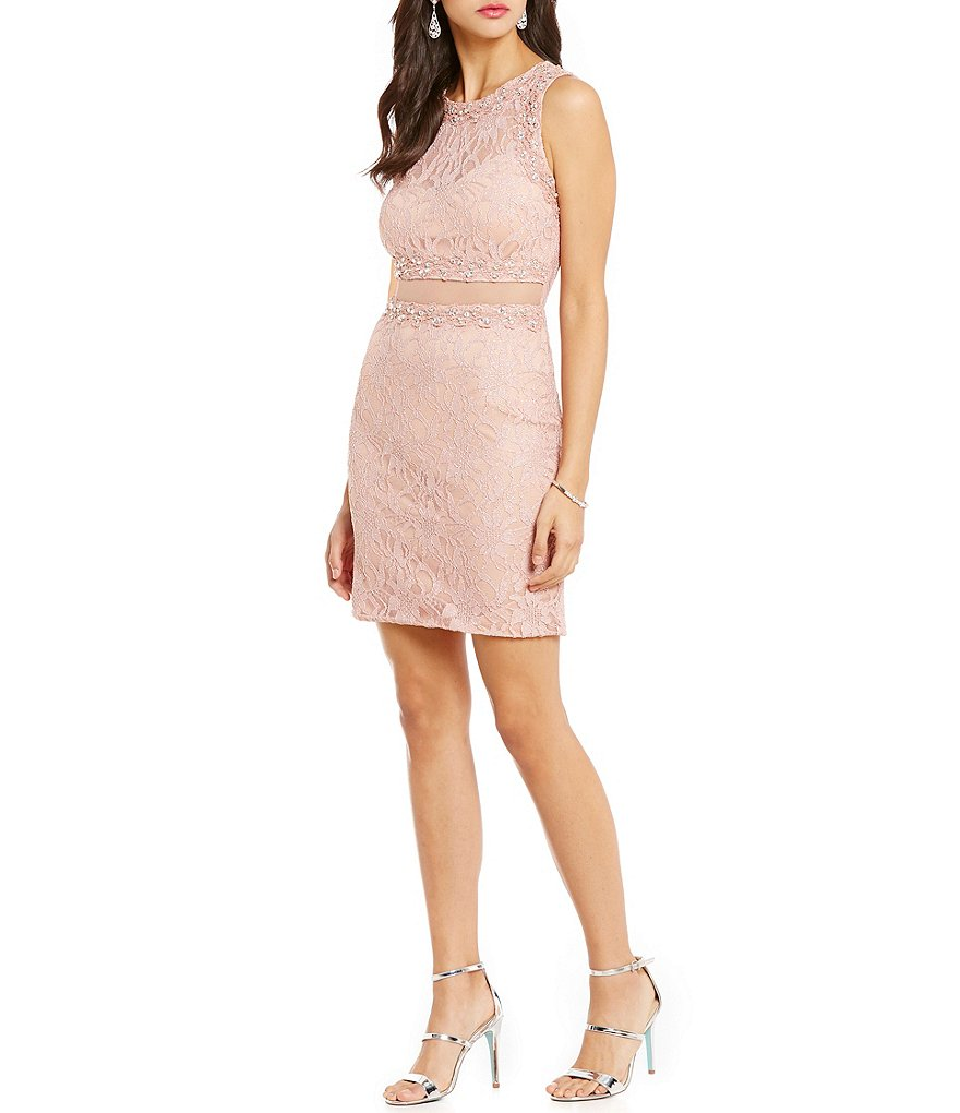 Jodi Kristopher High Neck Illusion Waist Beaded Lace Sheath Dress