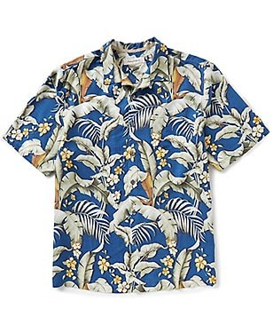 Tommy Bahama Big & Tall Short-Sleeve Blumenau Palm Print Woven Shirt