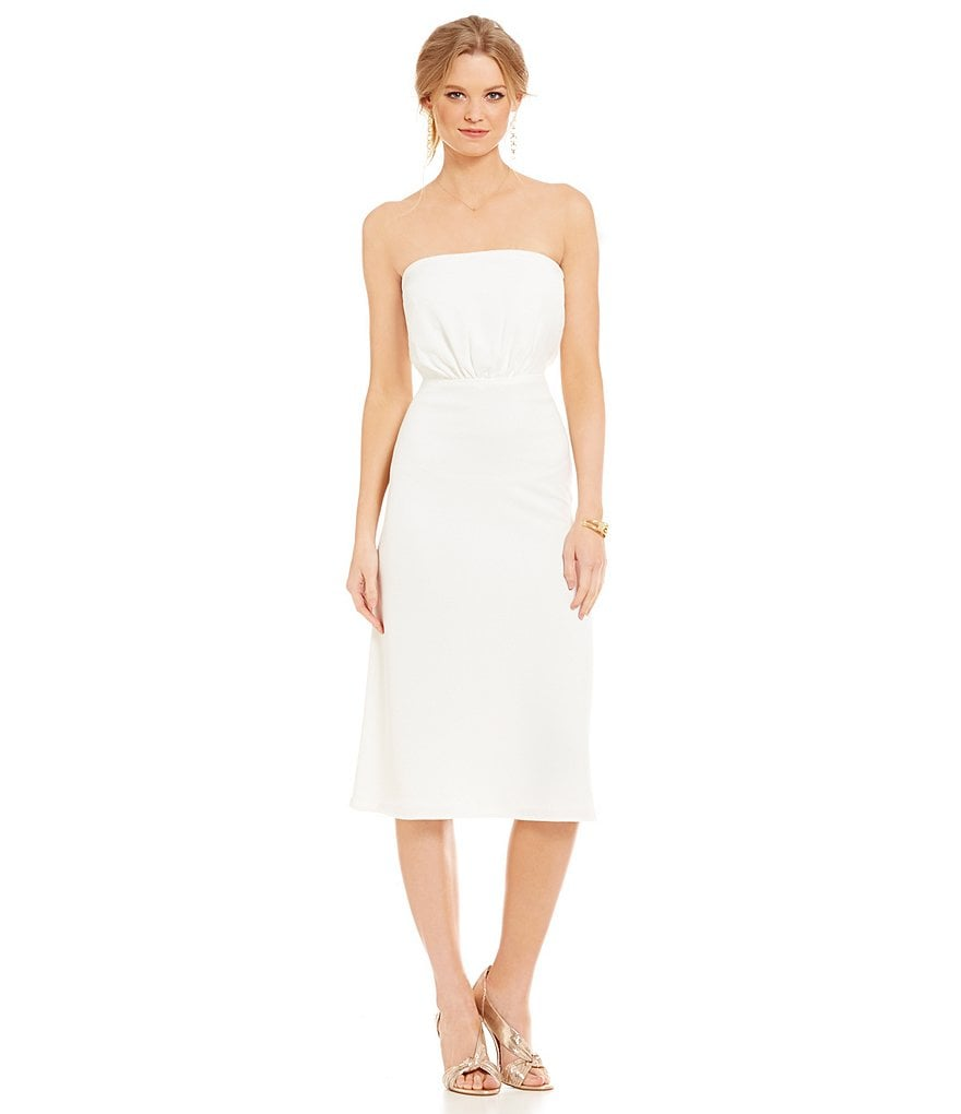 WAYF Tie Back Strapless Dress