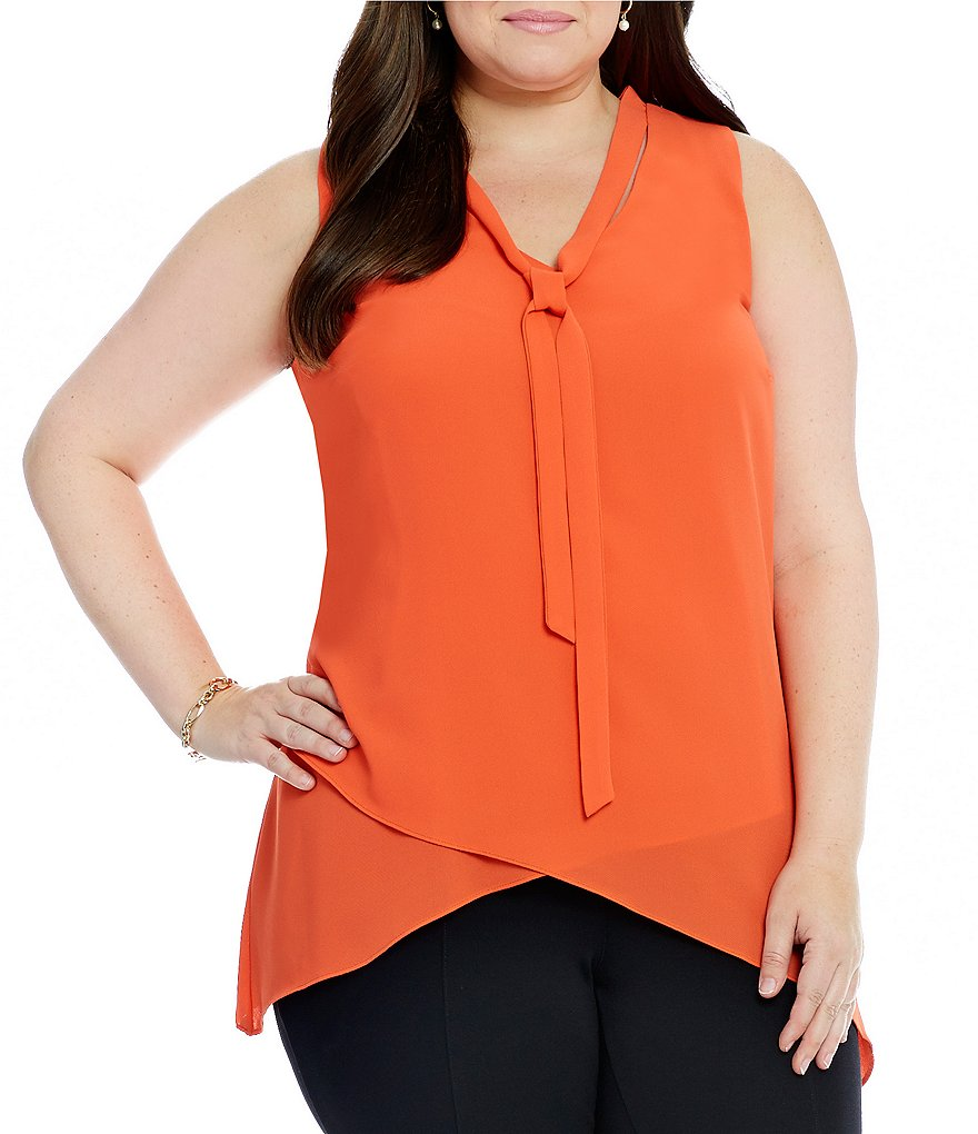 Gibson & Latimer Plus Asymmetrical Hem Tie-Neck Tank