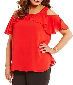 Gibson & Latimer Plus Cold- Shoulder Blouse with Ruffle Sleeve