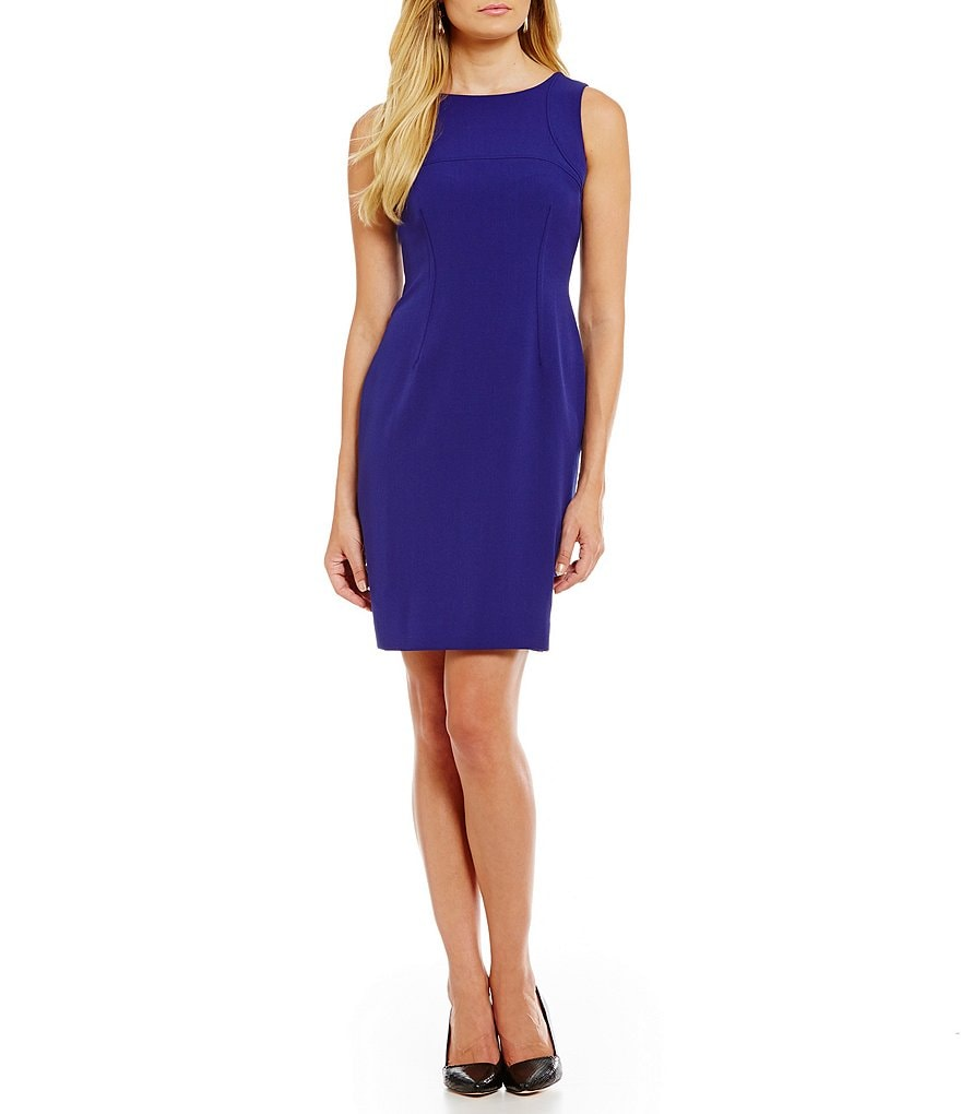 Kasper Petite Stretch Crepe Sleeveless Sheath Dress
