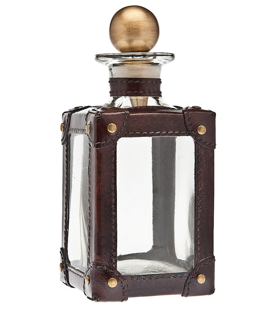Ricci Argentieri Leather-Trimmed Glass Decanter