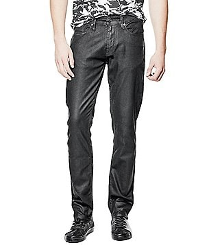 Guess Slim-Fitting Straight-Leg Coated Denim Jeans