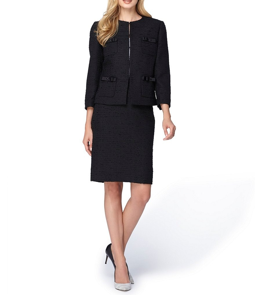 Tahari ASL Round Neck Bouncle Skirt Suit