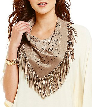 Anna & Ava Laser-Cut Faux-Suede Fringed Triangle Scarf