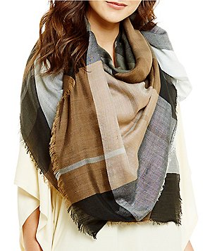 Landry Color Blocked Plaid Square Scarf
