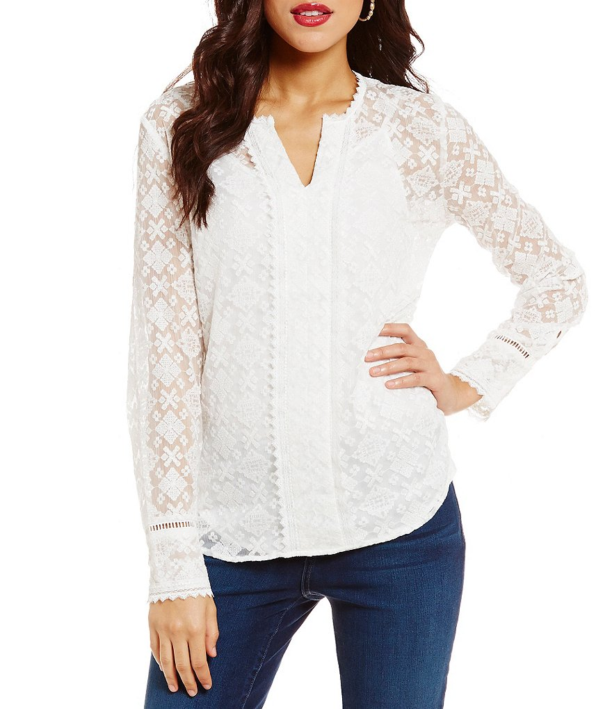 NYDJ Irina Split V-Neck Embroidered Georgette Blouse