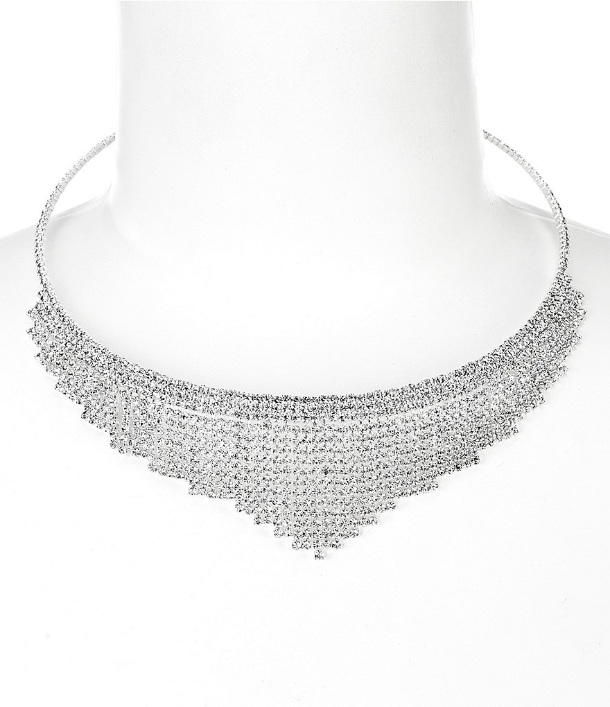 Cezanne Rhinestone Fringe Collar Necklace