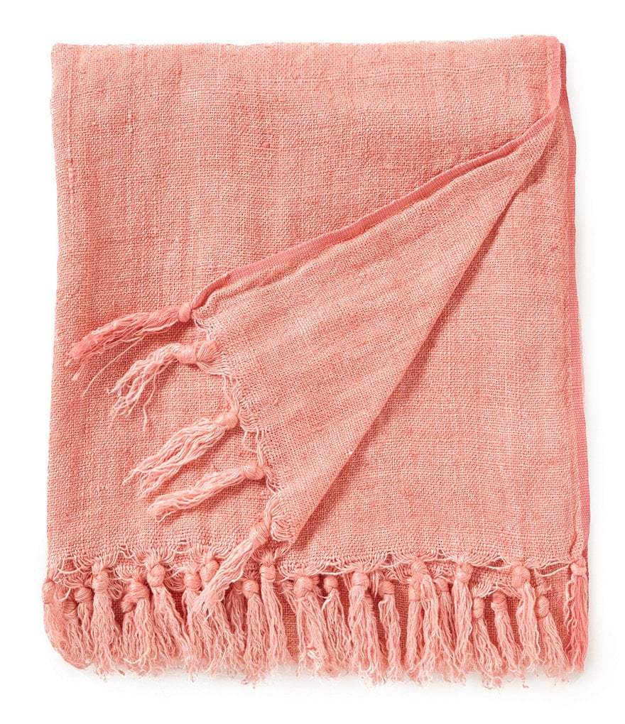 Pine Cone Hill Laundered Linen Fringed Throw