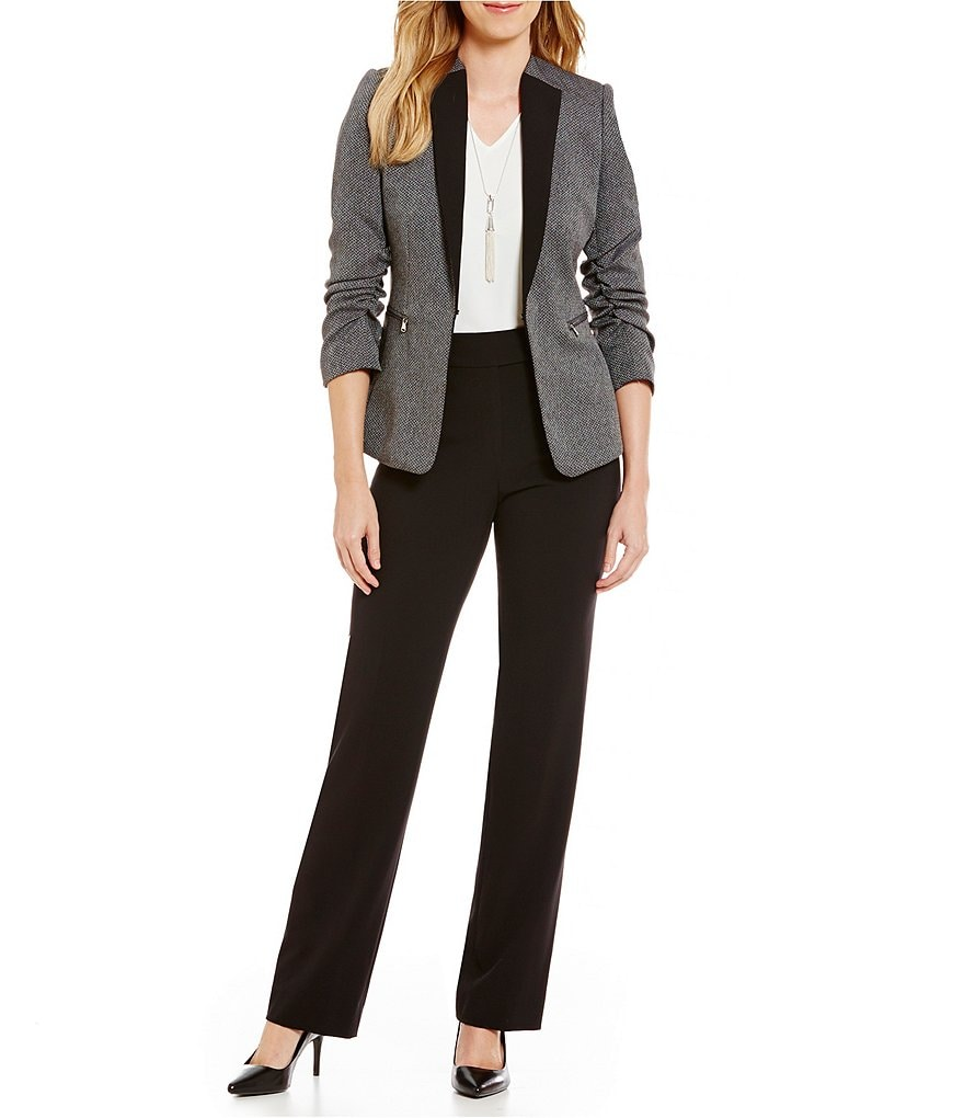 Tahari ASL Herringbone WIng Collar Jacket Pant Suit