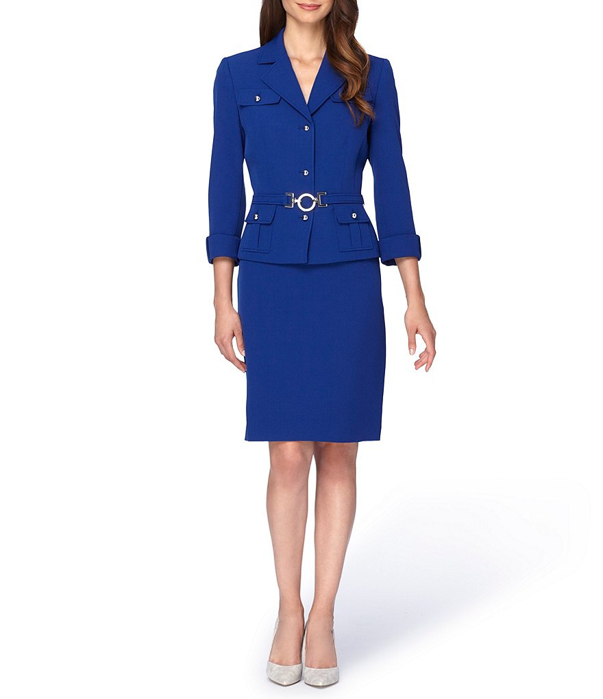 Tahari ASL Belted 4 Button Skirt Suit