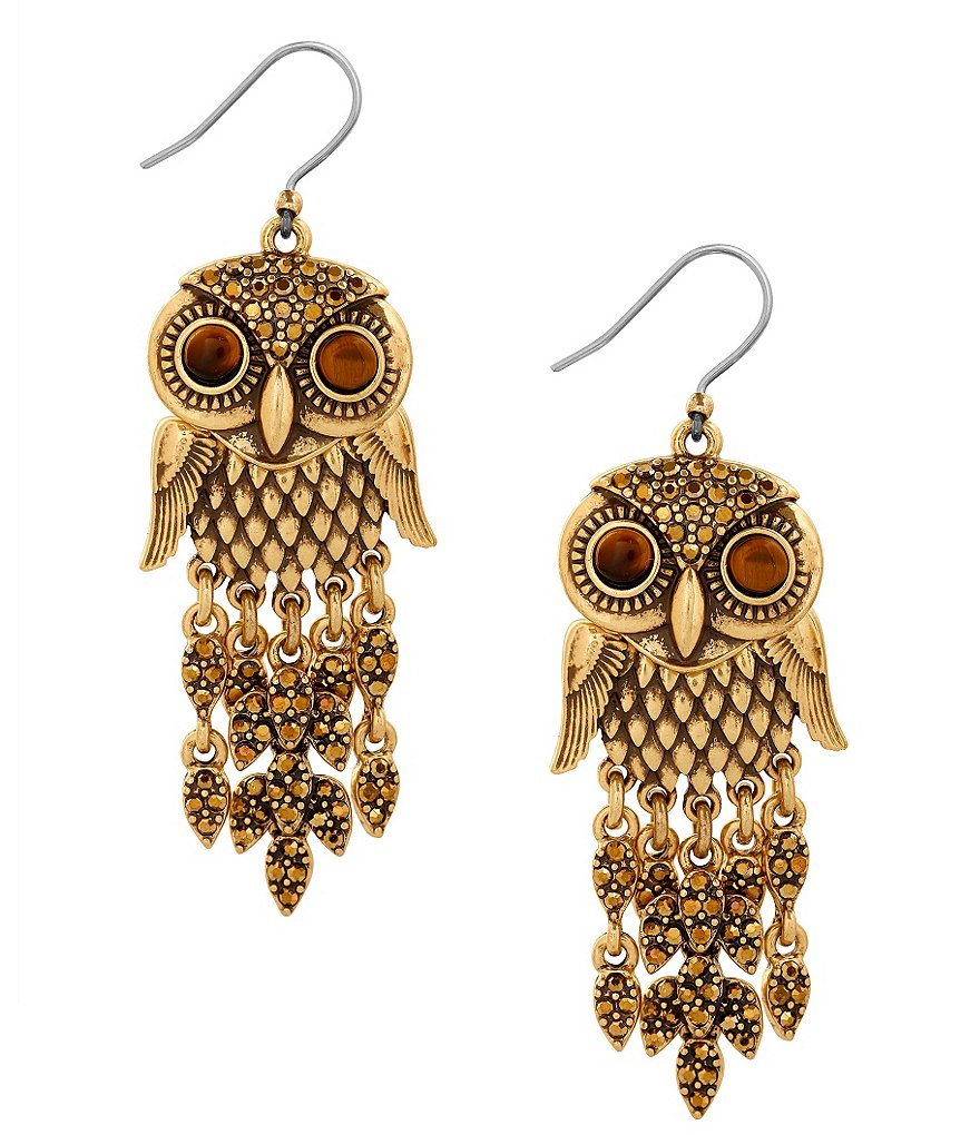 Lucky Brand Tiger´s Eye Owl Drop Earrings