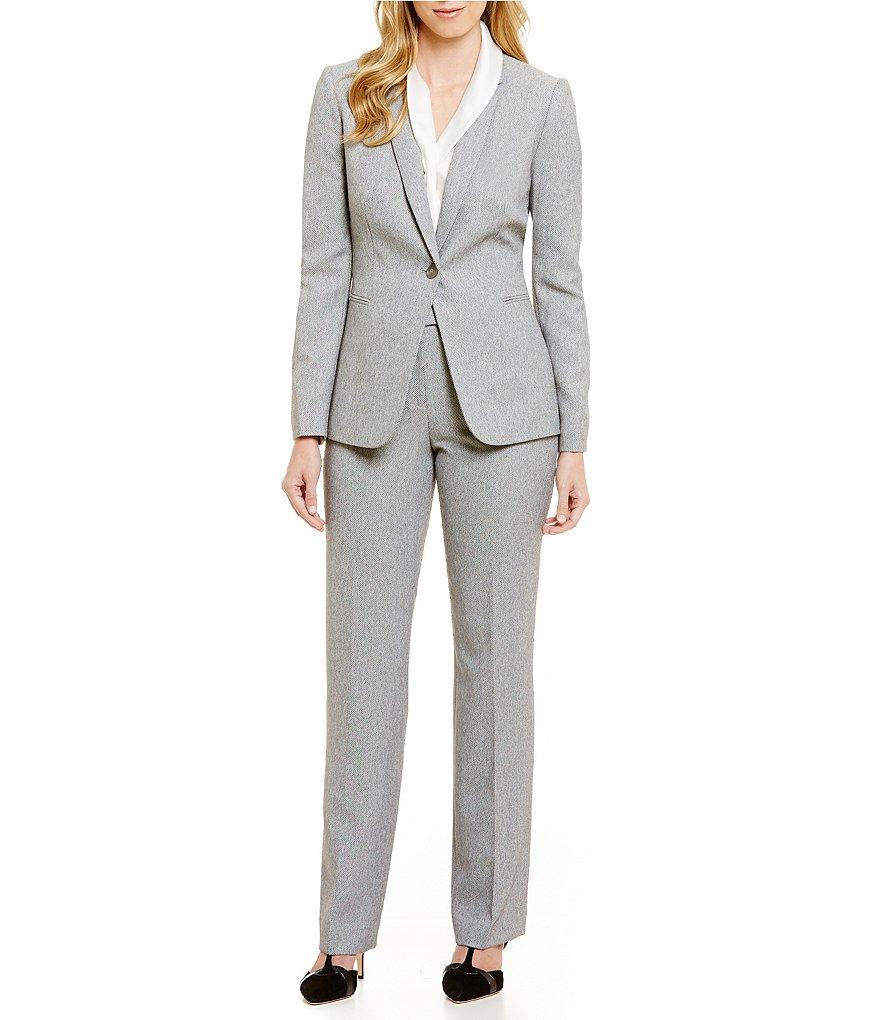 Tahari ASL Twill Notch Collar Pant Suit