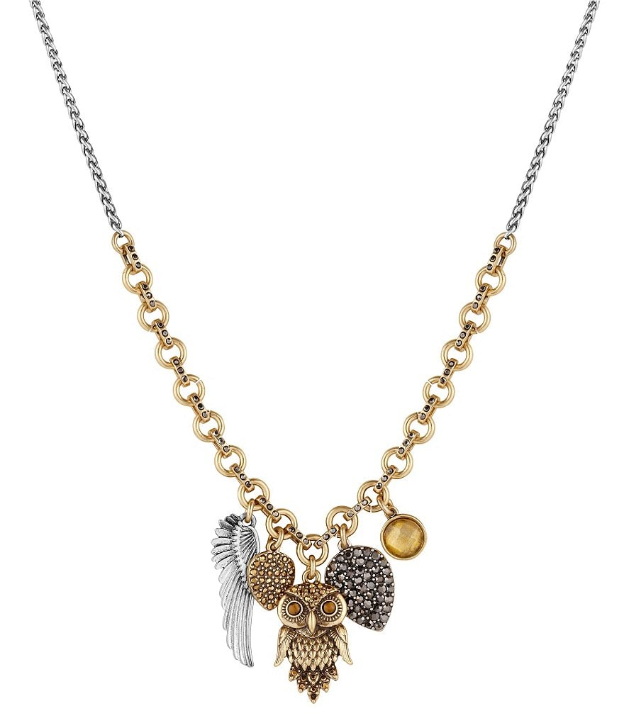 Lucky Brand Tiger´s Eye Owl Charm Necklace