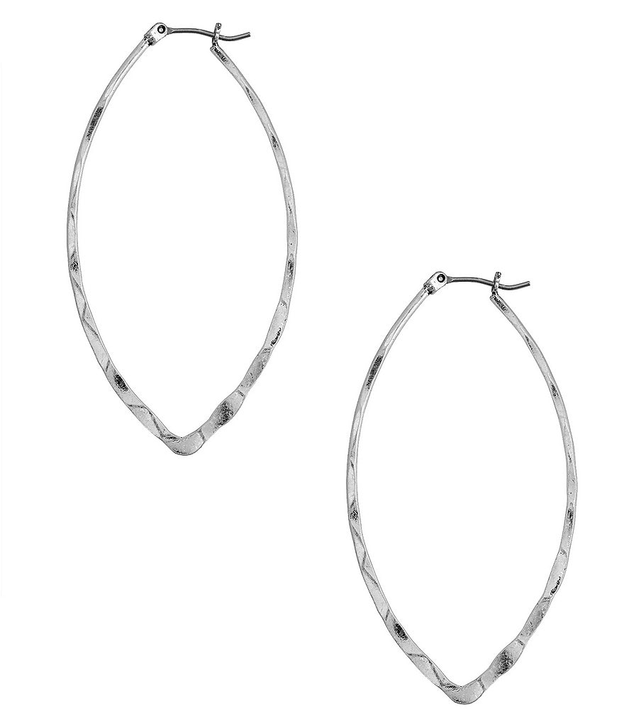 Lucky Brand Hammered Oval Hoop Earrings