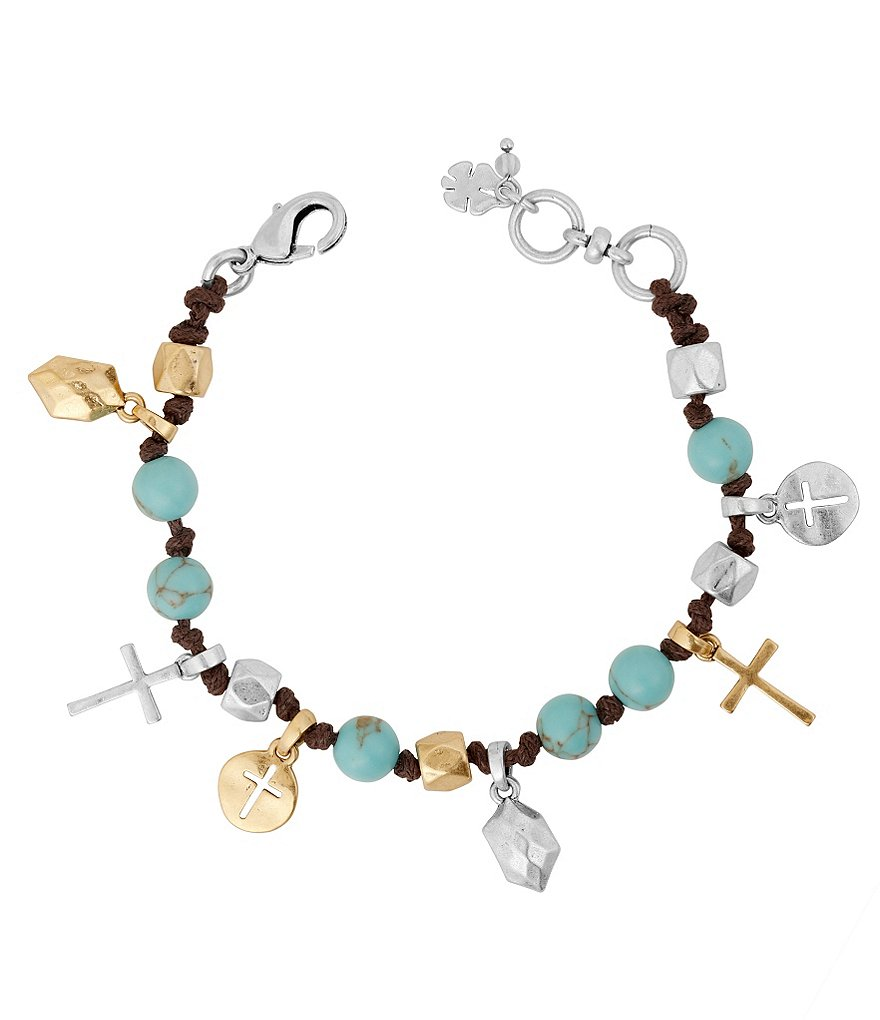 Lucky Brand Leather & Turquoise Cross Charm Bracelet