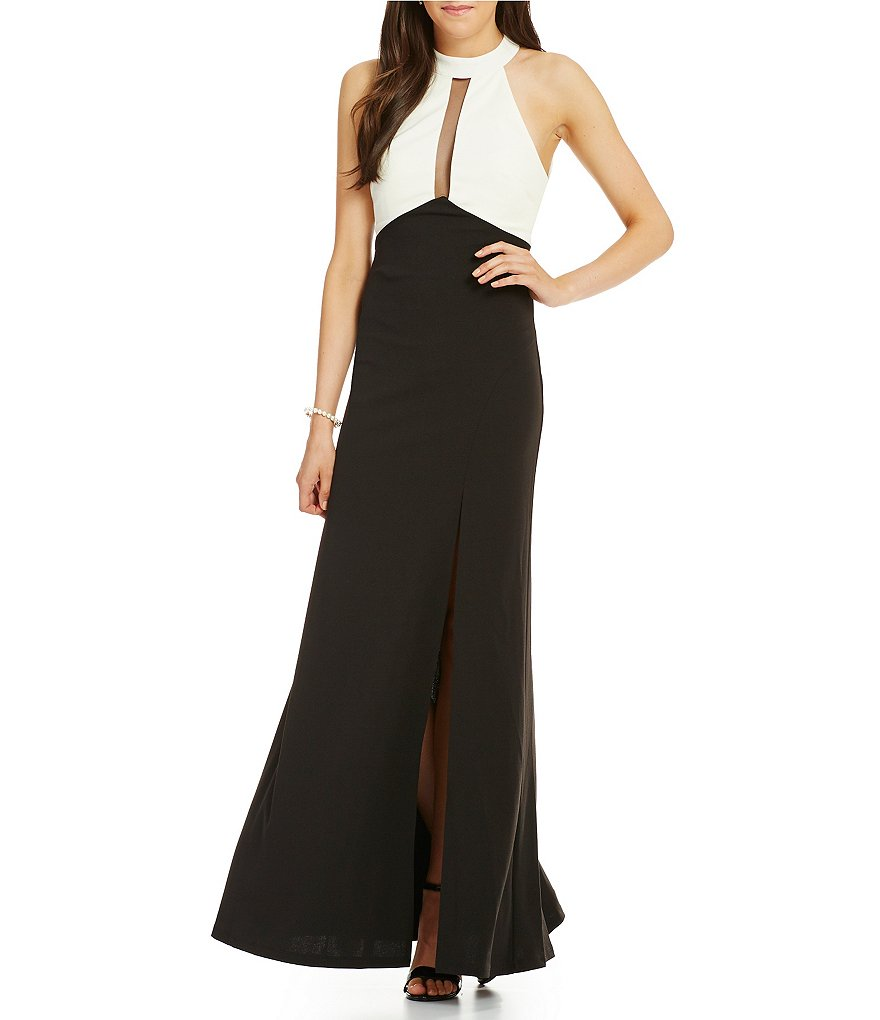 Sequin Hearts Mock Neck Color Block Long Dress