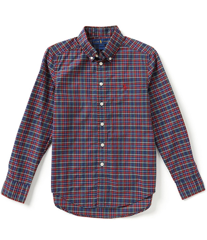 Ralph Lauren Childrenswear Big Boys 8-20 Plaid Long-Sleeve Poplin Shirt