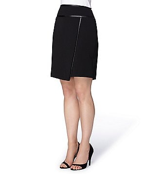 Tahari ASL Faux Leather Trimmed Asymmetrical Pencil Skirt