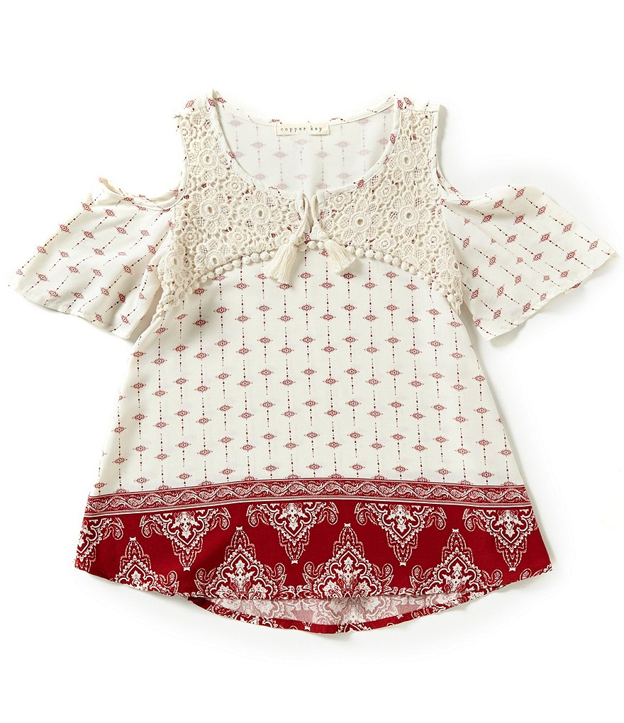 Copper Key Big Girls 7-16 Printed Lace Detail Top