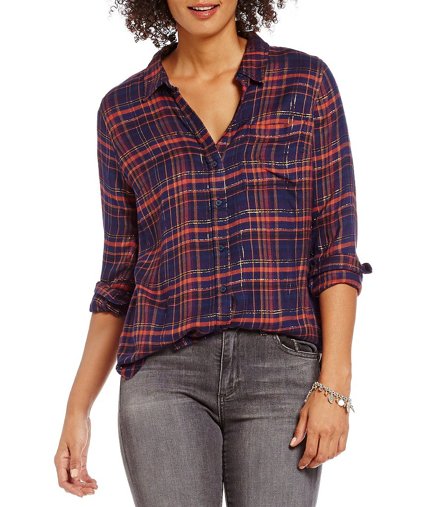 Lucky Brand Button-Front Back Overlay Plaid Shirt