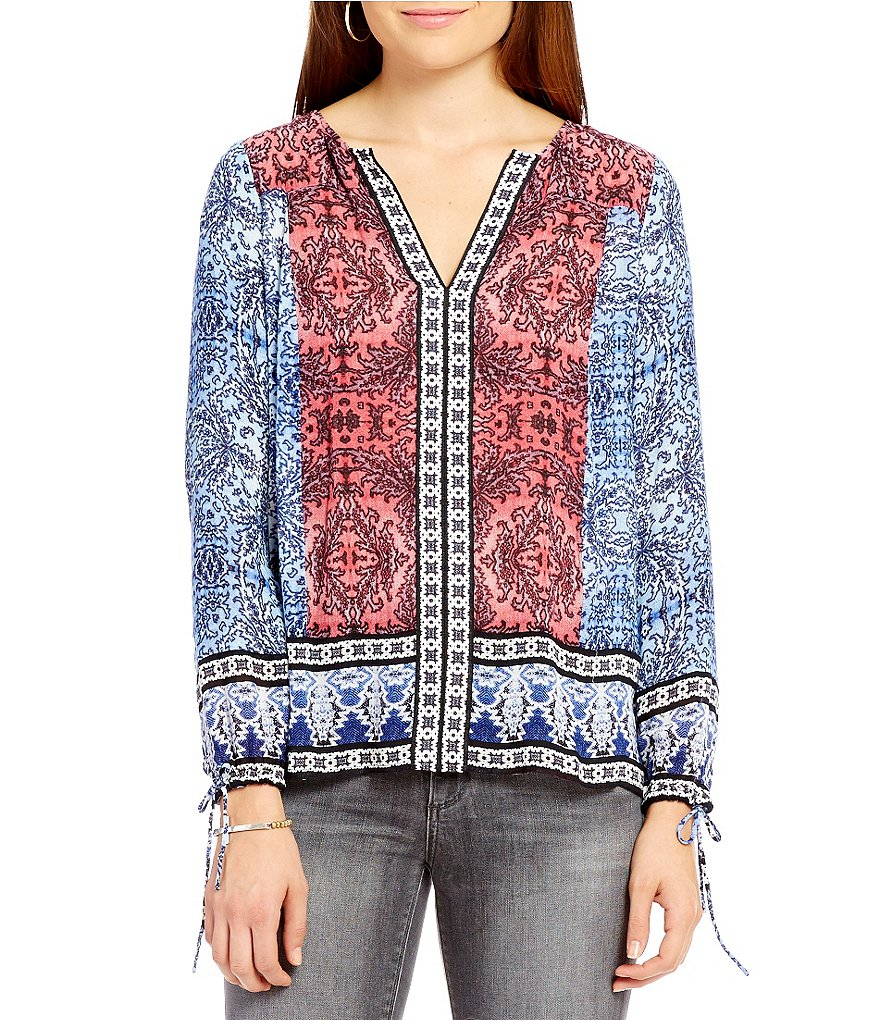 Lucky Brand Long Sleeve Border Print Top