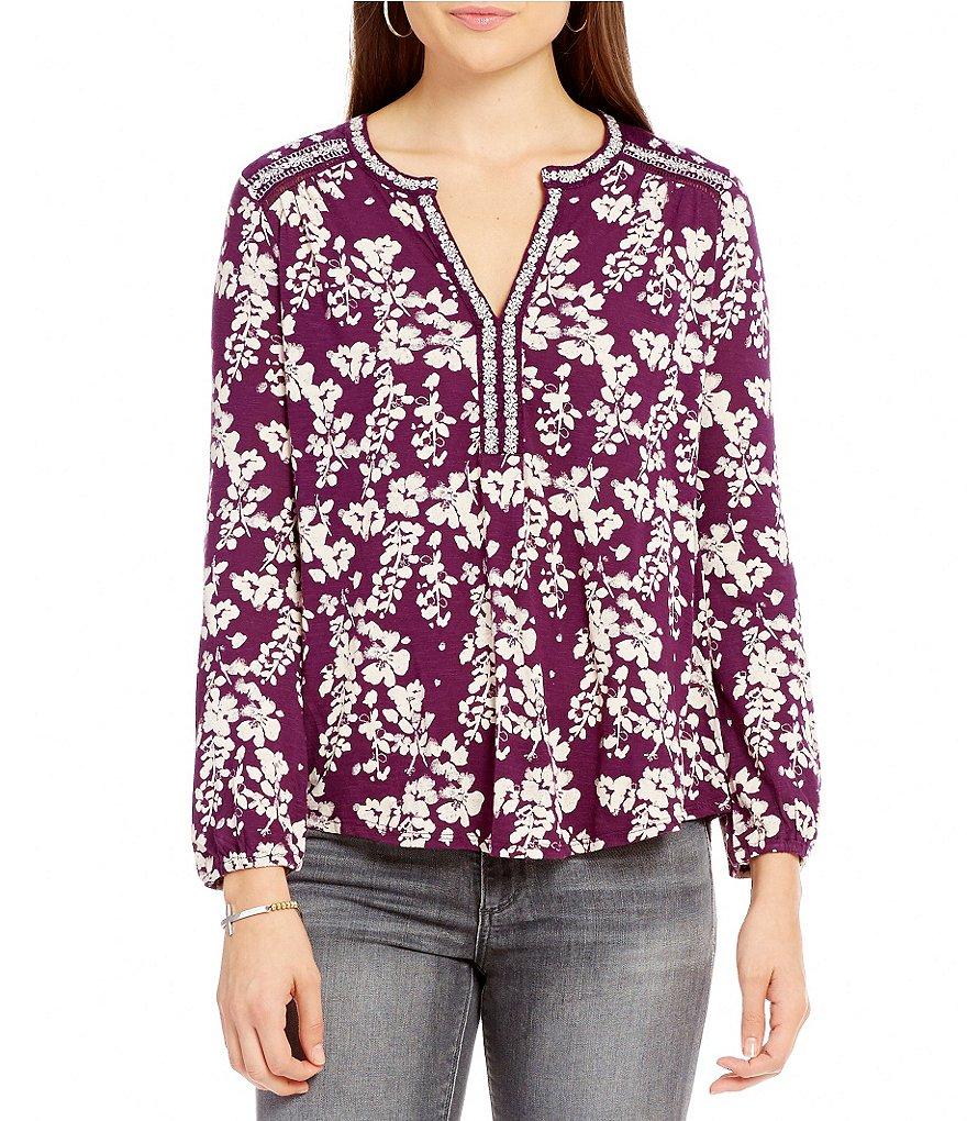 Lucky Brand Long Sleeve Floral Print Peasant Knit Top
