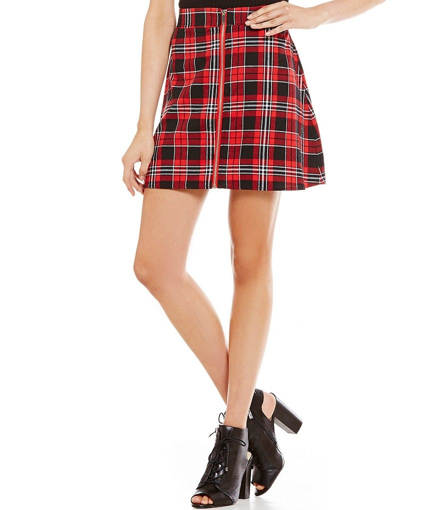 Freestyle Zip Front Plaid Skirt