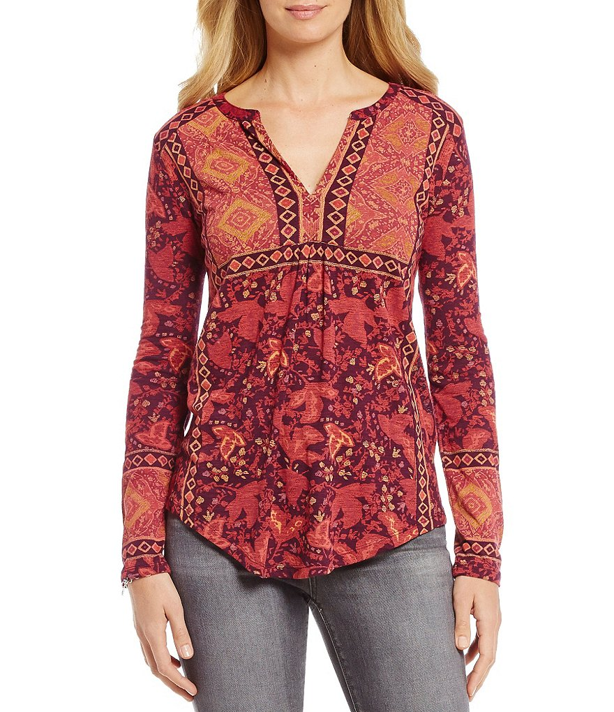 Lucky Brand 3/4 Sleeve Border Print Knit Top