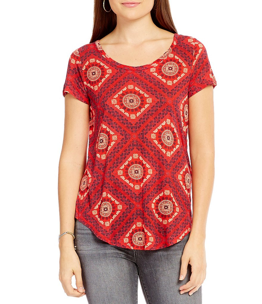 Lucky Brand Tile Print Scoop Neck Short Sleeve Tee
