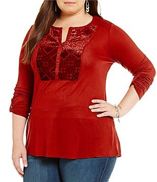 Lucky Brand Plus Burnout Velvet Bib Top