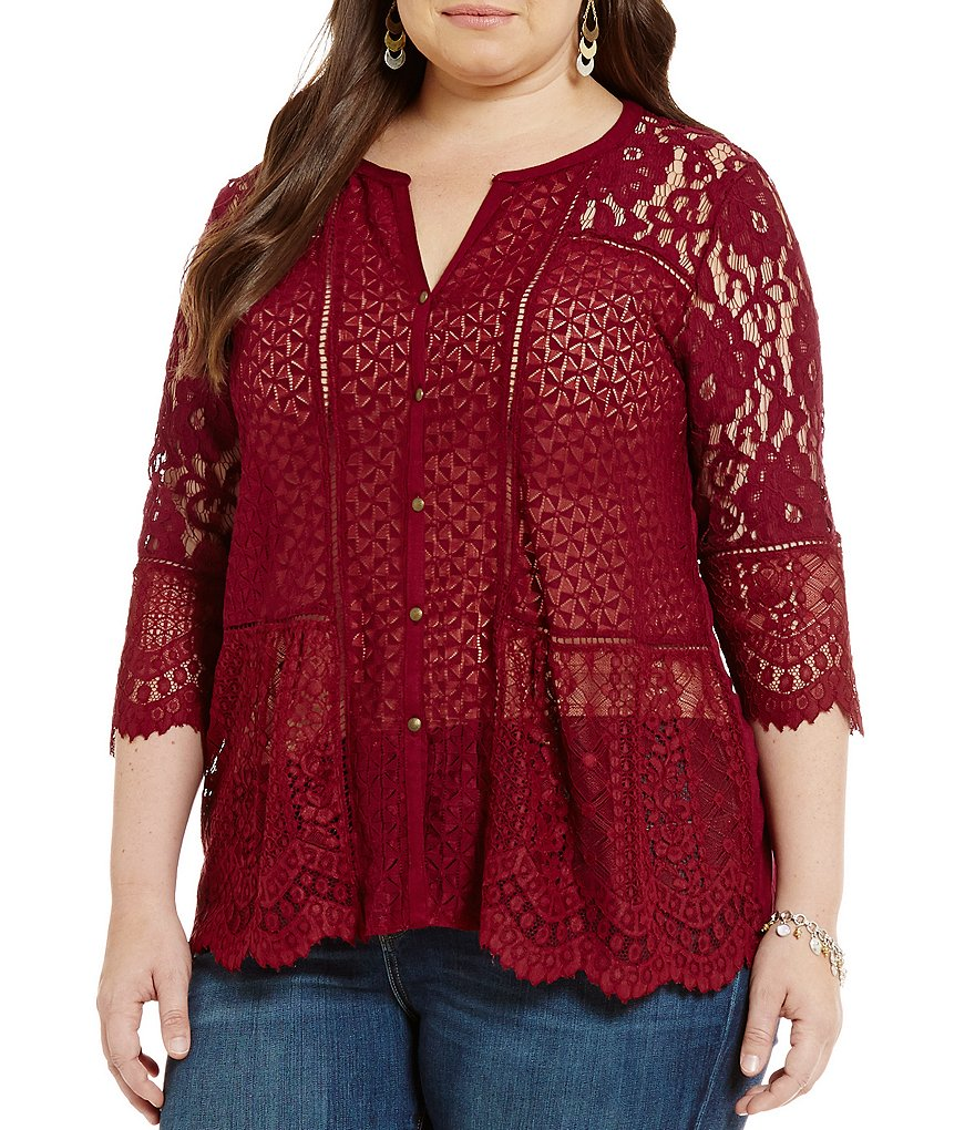 Lucky Brand Plus Lace Mixed 3/4 Sleeve Top