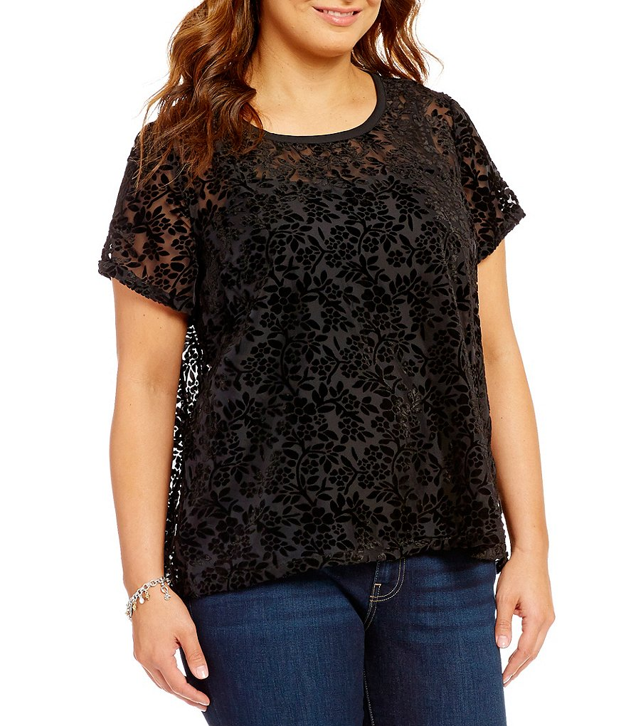 Lucky Brand Plus Velvet Burnout Top