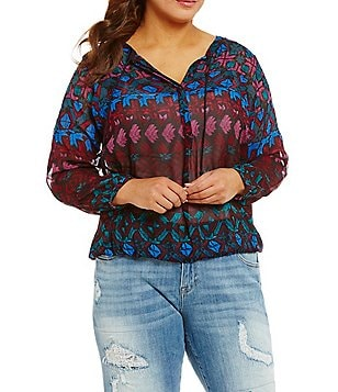 Lucky Brand Plus Long Sleeve Vibrant Print Woven Top