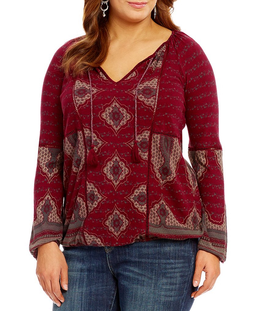 Lucky Brand Plus Placed Print Top