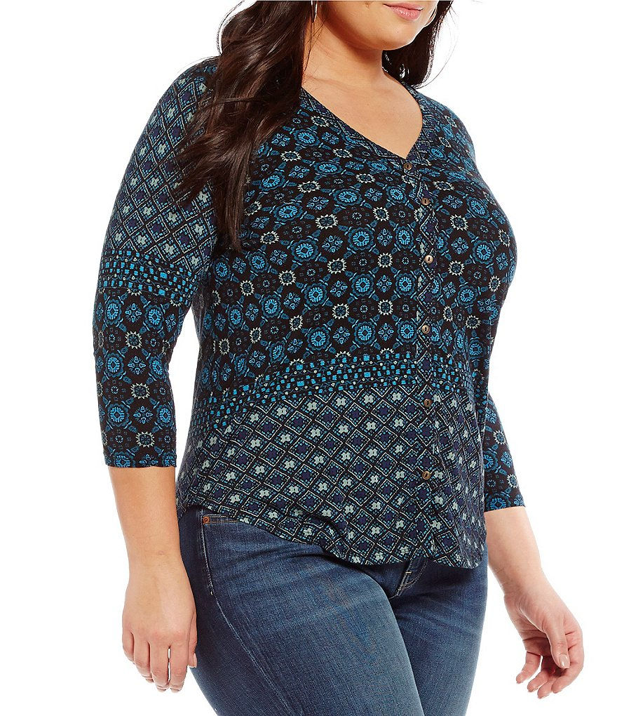 Lucky Brand Plus Moroccan Tile Placed Print Knit Top