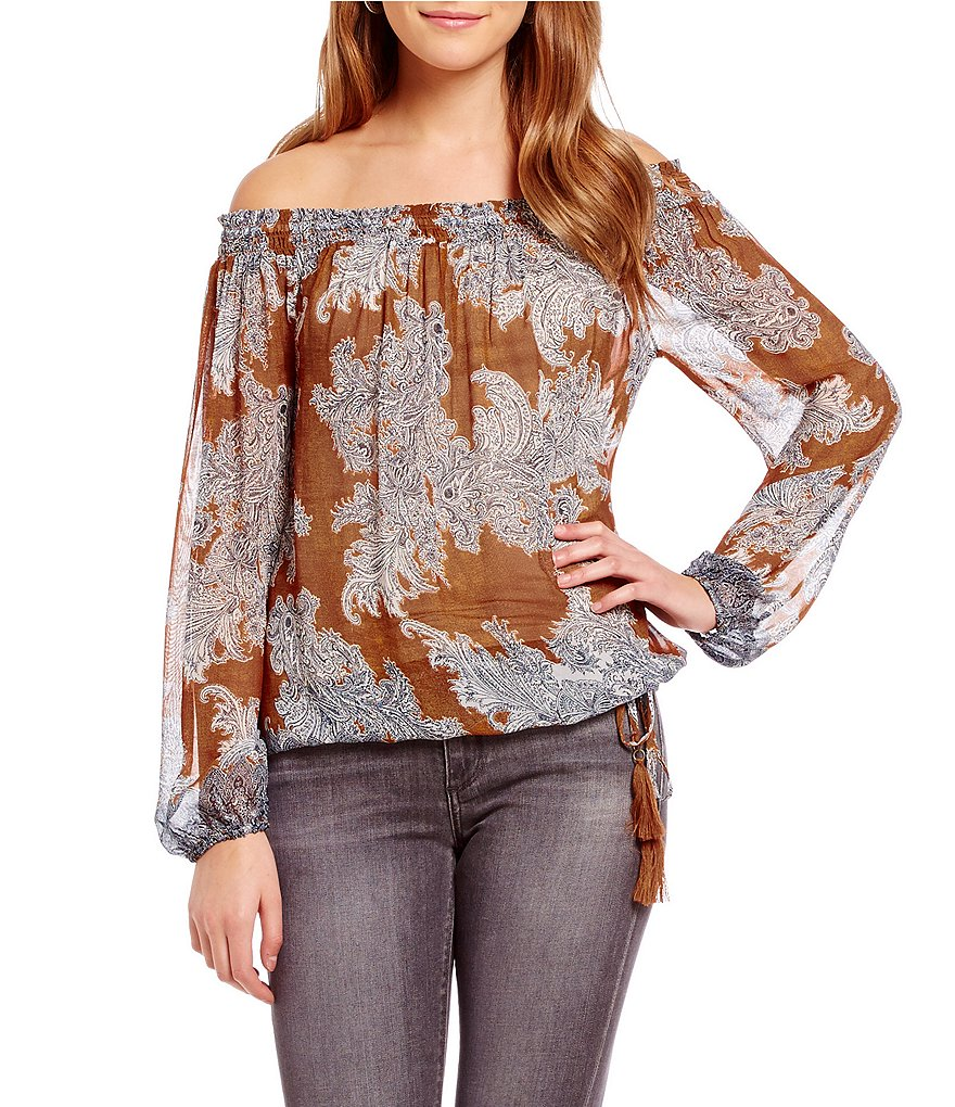 Lucky Brand Off-the-Shoulder Printed Woven Top