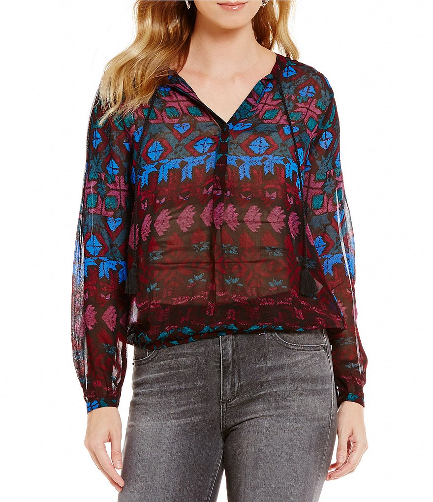Lucky Brand Long Sleeve Vibrant Print Woven Top